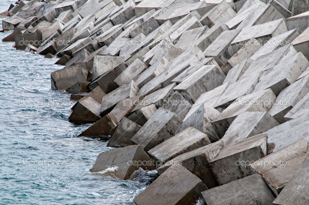 Detail of a newly built breakwater    #14086039