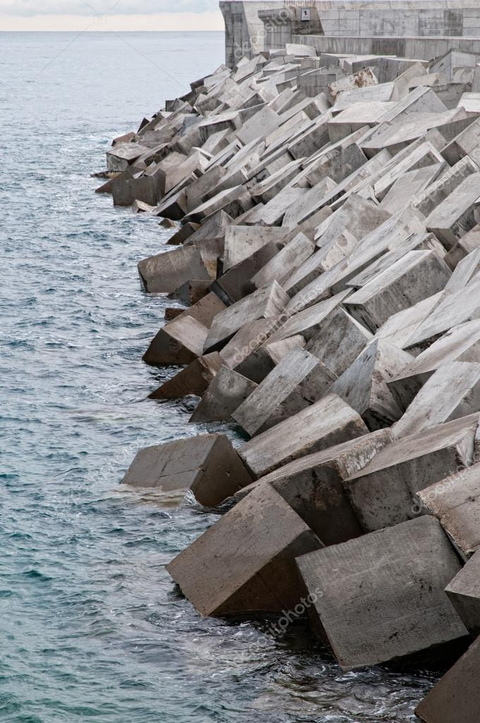 Detail of a newly built breakwater   #14086701