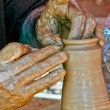Craftsman working the clay — Stock Photo