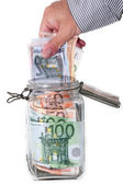 Savings in glass jar — Stock Photo