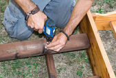 Assembling a table — Stock Photo