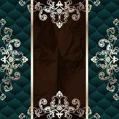 Dark Green Vintage Banner With Metallic Ornaments — Stock Vector