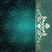 Floral Arabesque Background In Green And Gold — Stock Vector