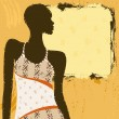 Grungy Banner With An African Woman In A Patterned Dress - Stock Vector