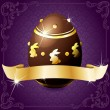 Elegant Banner With Chocolate Egg In Purple & Gold - Stock Vector