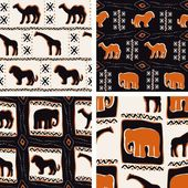 Set Of Africa Themed Seamless Patterns — Stock Vector