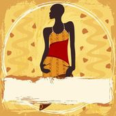 Grungy Banner With An African Woman In A Patterned Dress — Stock Vector
