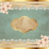 Lacy Square Banner With Flowers — ストックベクタ