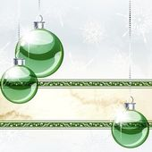 Christmas Banner With Transparent Ornaments — Stock Vector