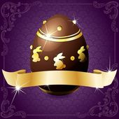 Elegant Banner With Chocolate Egg In Purple & Gold — Stock Vector