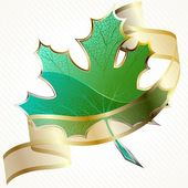 Shiny Green Leaf With Transparent Banner — Stock Vector