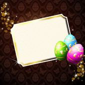 Elegant Card With Gold Decorated Easter Eggs — Stock Vector