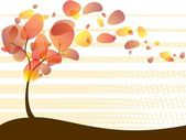 Quirky Autumn Tree Background — Stock Vector