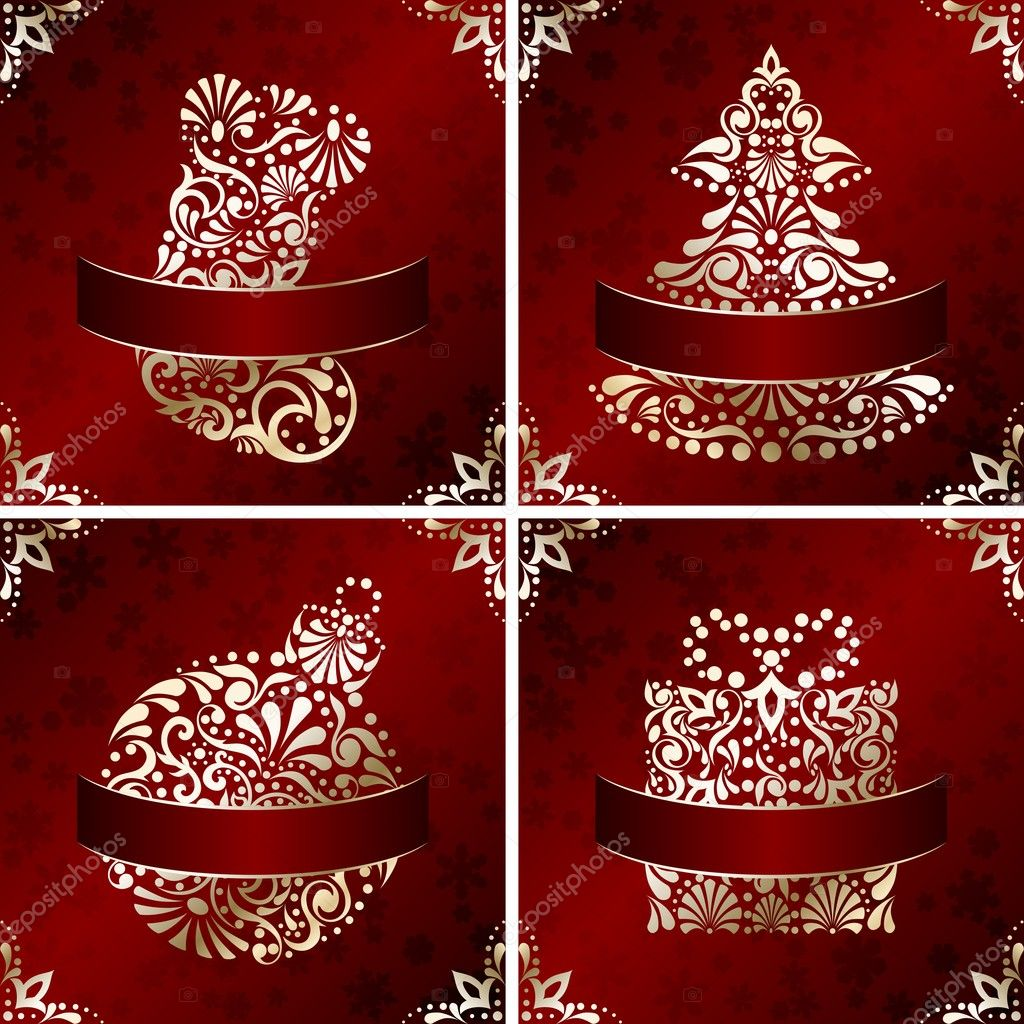 Four Red and gold Christmas illustrations with intricately designed seasonal icons. Graphics are grouped and in several layers for easy editing. The file can be scaled to any size.  Stock Vector #12205435