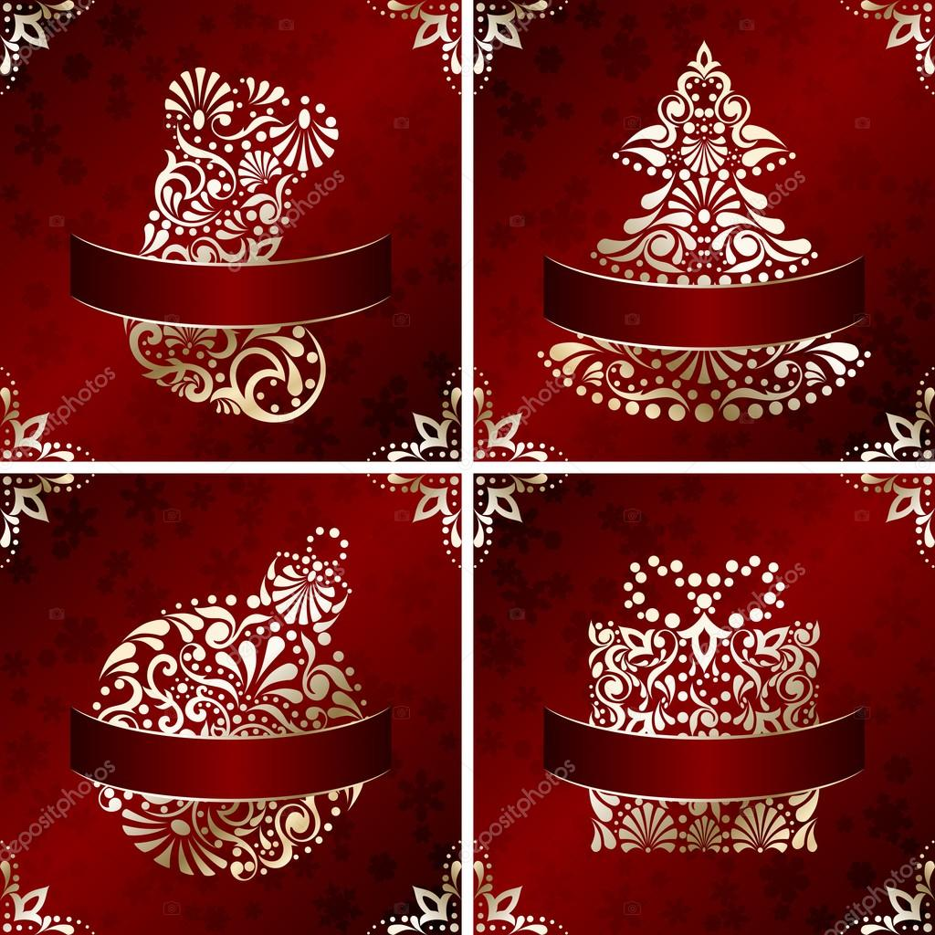 Elegant christmas cards with filigree ornament stock for Elegant christmas card ideas