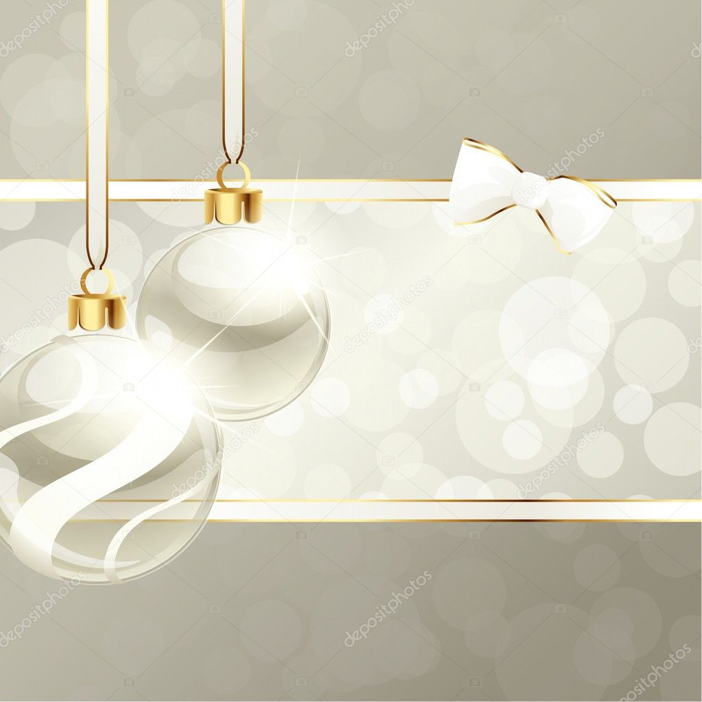 White and beige banner with transparent Christmas ornaments. Graphics are grouped and in several layers for easy editing. The file can be scaled to any size. — Grafika wektorowa #12205540