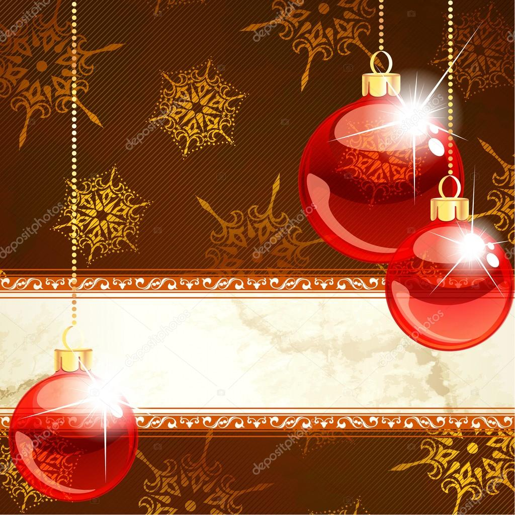 Red and gold Christmas banner with transparent glass ornaments. Graphics are grouped and in several layers for easy editing. The file can be scaled to any size. — Stock Vector #12205646