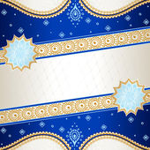 Vibrant blue banner inspired by Indian mehndi designs — Stock vektor