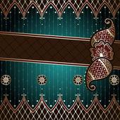 Elegant green & gold banner inspired by Indian mehndi designs — Stock Vector