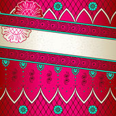 Vibrant pink & turquoise banner inspired by Indian mehndi designs — Stock vektor
