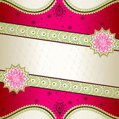 Vibrant pink banner inspired by Indian mehndi designs — Stock vektor