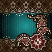 Elegant green & gold background inspired by Indian mehndi designs — Stock Vector