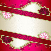 Vibrant pink banner inspired by Indian mehndi designs — Stock Vector