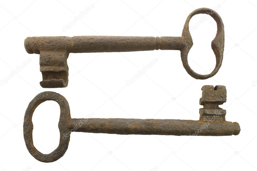 Group of two old keys on a white background. — Stock Photo #14092532