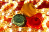Christmas balls with lights — Stock Photo