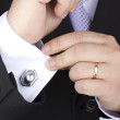 Stock Photo: Fiance dressing