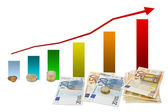 Gains chart with money — Stock Photo