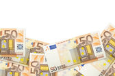 Texture of banknotes on white background — Stock Photo