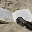 Book and sunglasses — Stock Photo