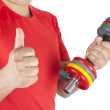 Happy man lifting weights — Stock Photo