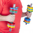 Man doing weight training — Stock Photo