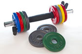 Dumbbell with accessories — Stock Photo
