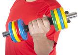 Hombre haciendo pesas — Foto de Stock