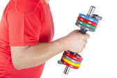 Man holding a dumbbell — Stock Photo