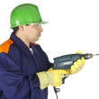 Worker using a drill — Stock Photo