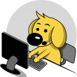 Stock Vector: Smart Dog with Computer