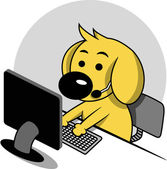 Smart Dog with Computer — Stock Vector