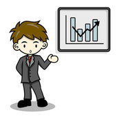 Business man is explaining with whiteboard — Stock Vector