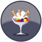 Ice Cream Dessert with Fruits — Stock Vector