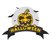 Halloween Pumpkin on Ribbon — Stock Vector