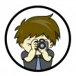 Постер, плакат: Photographer is taking a picture with SLR