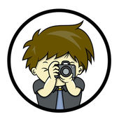 Photographer is taking a picture with SLR — Stock Vector