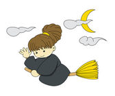 Young girl wearing witch cloth flying with broom and saying hello on halloween — Wektor stockowy