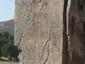 Carvings on one of the Colossi of Memnon — Stock fotografie