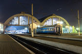 Railway station in night — Stock Photo