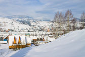 Winter mountain village landscape — Stock Photo